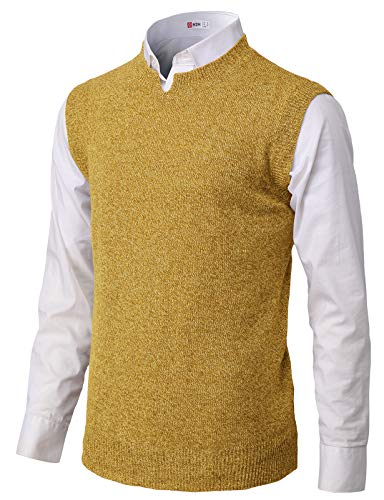 H2H Mens Casual Soft Acrylic Knitted Solid Pullover Cable Sweater Links-Vest Mustard US M/Asia L (KMOV183)