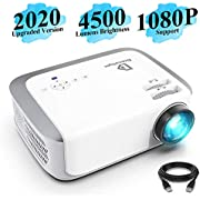 Projector, DracoLight 2020 4500 Lux Video Projector 50000 Hours Lamp Life Support 1080P Full HD, Compatible with Fire TV Stick, PS4, HDMI, VGA, AV and USB for Home Theater, Office Presentations