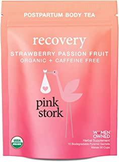 Pink Stork Recovery: Strawberry Passionfruit Postpartum Body Tea -USDA Organic Loose Leaf Herbs in Biodegradable Sachets, Supports Healthy Labor Recovery, Restores Nutrients -30 Cups, Caffeine Free