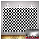 Black and WhiteRacing Checker Texture Grid Birthday Chess Board Theme Photography Backdrops 7X5ft Children Kids Birthday Party Supplies Newborn Baby Shower Banner Photo Background Booth Props Vinyl