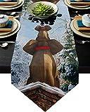 COMMER Camino de mesa triangular, divertidos elefantes sentados en chimenea, bufandas para decoración de mesa para bodas, ceremonias/banquetes (33 x 228 cm)
