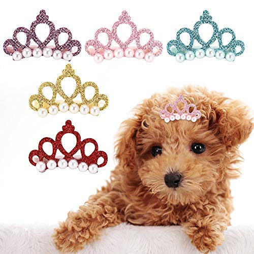 25pcs Hund Haarspangen Crown Form Pet Haarnadel Perlen Pet Princess Clips Nette Katze Haarspangen...