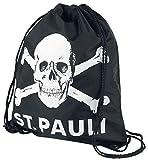 St. Pauli Totenkopf Turnbeutel schwarz