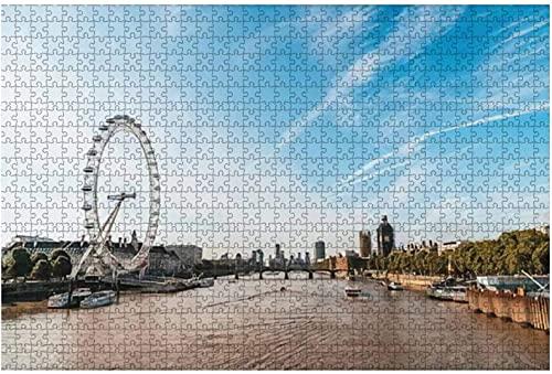 500 piezas: el Big Ben y el puente de Westminster con el río Támesis en Londres Reino Unido Rompecabezas de madera DIY Rompecabezas educativos para niños Regalo de descompresión para adultos Juegos c