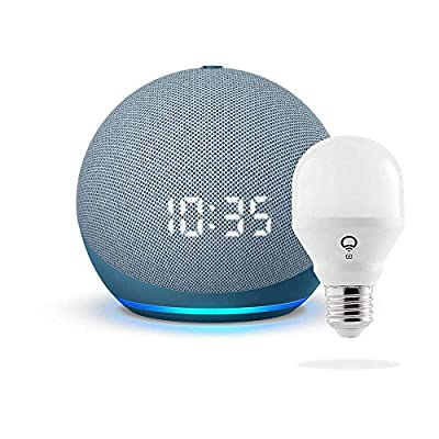 All-new Echo Dot with clock (4th Gen) - Twilight Blue - bundle with LIFX Smart Bulb (Wi-Fi) by