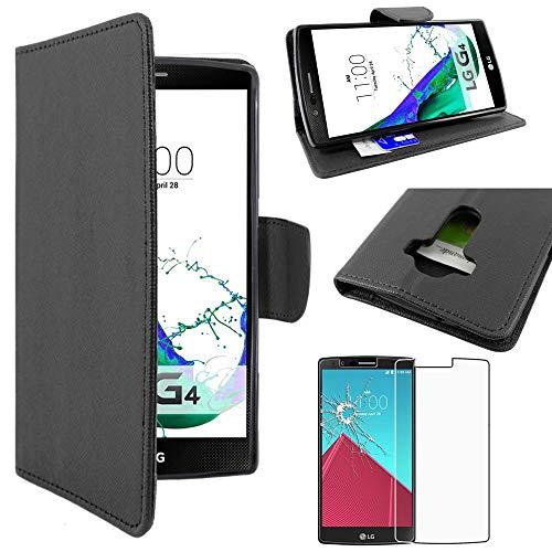 ebestStar - Cover Compatibile con LG G4 H815, G4 Dual-LTE Custodia Portafoglio Pelle PU Protezione Libro Flip, Nero + Pellicola Vetro Temperato [Apparecchio: 149 x 76.2 x 9.8mm, 5.5'']