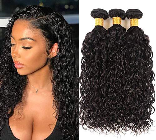 Wet and Wavy Bundles Brazilian Virgin Hair Water Wave 3Bundles 10 12 14 Curly Hair Bundles Natural Black Color 100% Human Hair for Black Woman Pineapple Wave Hair Bundles(10 12 14 Natural Color)