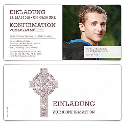 20 x Konfirmation Einladungskarten Konfirmationseinladungen Konfirmationskarten - Keltisches Kreuz