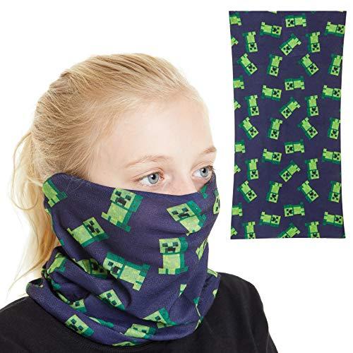Minecraft Halstuch Mundschutz Kinder, Multifunktionstuch Kinder mit Creeper Design, Masken Mundschutz Bandana Teenager, Waschbar Gesichtsmasken Stoff Jungen