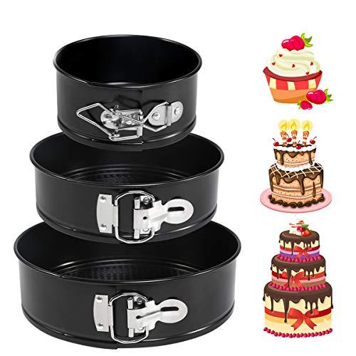 LinStyle Moldes para Pasteles, Moldes Reposteria, 3 Piezas (4/ 7 / 9) Molde de Horno Desmontable/Sartén para Pasteles Cake con Doble Capa Antiadherente - Negro