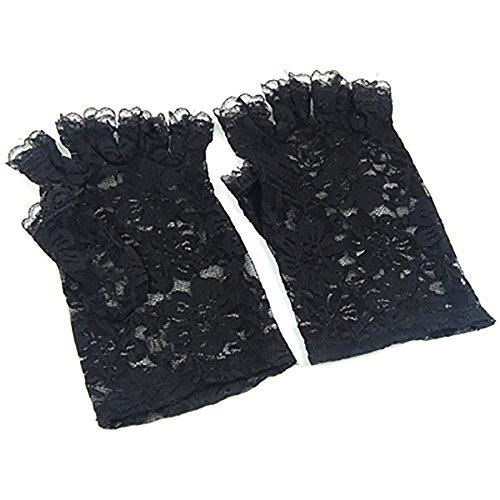 TRIXES Kurze Schwarze Fingerlose Burlesque-Handschuhe mit Spitze im Dienstmädchen-Look