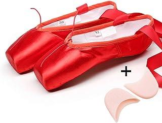 Mettime Zapatillas de Ballet de Punta Zapatos Satén/Lienzo con Puntera de Gel de Silicona/Esponja y Cintas para Niñas (por...