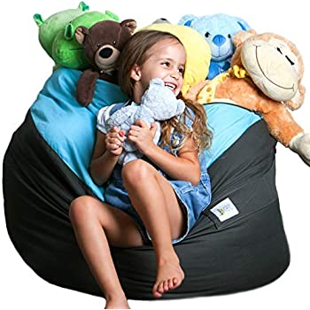 """Bean bag Stuffed Animal Storage  2 Sizes in 1 XXL Jumbo Ottoman for Soft Toys, Plush Toys   Giant Pouf Organizer for Linens, Quilts, Pillows   300 L. / 80 Gal.   42""""   Blue Grey   SMART WALLABY"""