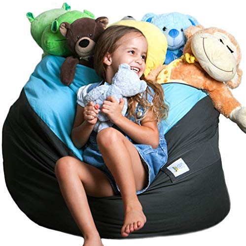 Bean bag Stuffed Animal Storage |2 Sizes in 1 XXL Jumbo Ottoman for Soft Toys, Plush Toys | Giant Pouf Organizer for Linens, Quilts, Pillows | 300 L. / 80 Gal. | 42' | Blue Grey | SMART WALLABY