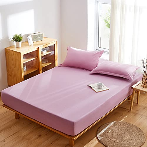 IKITOBI Sábana bajera ajustable para cama doble, suave, cómoda, lavable a máquina, transpirable, 150 x 200 cm, altura 15 cm
