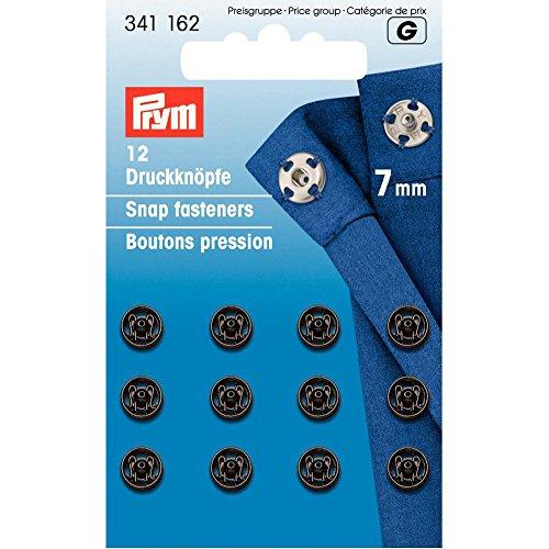 Prym 7 mm Sew-Corchetes, 12 Unidades, latón Negro