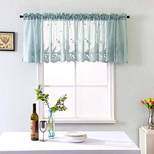 Lace Floral Curtain 51x16in, Embroidered Semi Blue-Green Sheer Curtain Window Valance for Kitchen Cafe Dinning Bath Room 1 Pcs