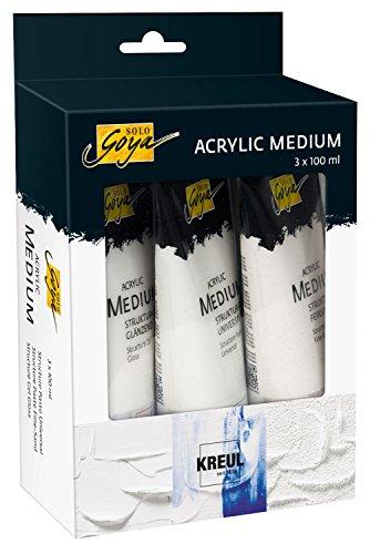 Kreul 85930 - Solo Goya Acrylic Medium Set, Strukturpasten Universal und Feinsand und Strukturgel glänzend, zur plastischen Oberflächengestaltung, 3 x 100 ml Tube