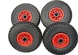 4 x Frosal PU Rad Bollerwagen | Bollerwagenrad | Ersatzreifen Sackkarre | Vollgummi pannensicher Ersatzrad