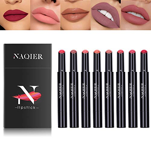 NAQIER Matte Lipstick Set, 8PCS Nude Moisturizer Smooth Lip Stick , Waterproof liquid lipstick mate Make up Velvet lip gloss Cosmetic
