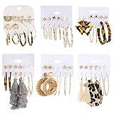 Makone 36 Pairs Fashion Earrings for Women, Stylish Teen Girls Tassel Dangle Earring & Pearl Stud Jewelry Set, Leather/Rattan/Gold/Acrylic Hoop Eardrop for Friend Birthday, Valentine, Christmas Gifts