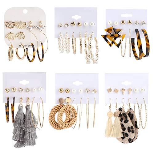 Makone 36 Pairs Fashion Earrings for Women, Stylish Teen Girls Tassel Dangle Earring & Pearl Stud Jewelry Set, Leather/Rattan/Gold/Acrylic Hoop Eardrop for Friend Birthday, Valentine, Christmas, Gifts