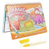 NUOBESTY Dinosaurio Agua Libro Mágico Agua Reutilizable Revelar Actividad Almohadillas Libros para Colorear Agua Aqua Dibujo Pintura Kits de Viaje de Juguete con Bolígrafos Extra para Niños