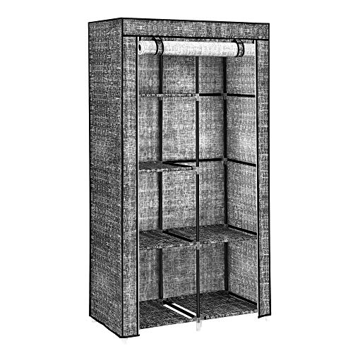 SONGMICS Kleiderschrank, Stoffschrank, 2 Kleiderstangen, 6 Ablagen, in Leinenoptik, Metallgestell, 88 x 45 x 168 cm, für Schlafzimmer, Flur, Ankleidezimmer, schwarz RYG084B12