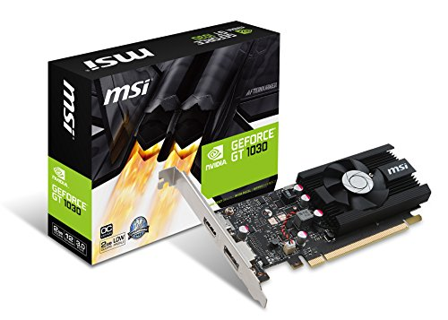 MSI NVIDIA GEFORCE GT 1030 2G LP OC Graphics Card '2GB GDDR5, 1518MHz, Low Profile design, DisplayPort, HDMI, HTPC, Single Fan Cooling System'