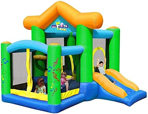 ROM Inflatable Castle and Slide, Children s Slide Inflatable Castle and Slide, Outdoor Home Square Indoor Small Inflatable Trampoline Best Gift for Children Green