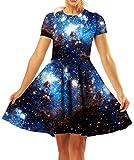 GLUDEAR Elegant Dresses, Womens Casual Dress A Line Short Sleeve O-Neck,Blue,S/M