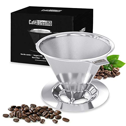 Cafellissimo Paperless Pour Over Coffee Dripper - Manual Reusable Stainless Steel Cone Filter, Single Drip Brew with Double Mesh Liner Coffee Strainer