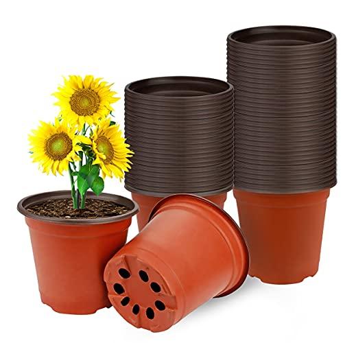 Vockvic 50 Pezzi Vasi per Piante in Plastica, Vasetti per Piantine Riutilizzabile con Fori di Drenaggio, Piccoli vasi da Coltivazione Multifunzionali Ideale per Piante da Interno e da Esterno