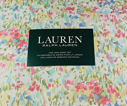 Ralph Lauren Pink Watercolor Abstract Floral Sheet Set Set 100% Cotton (TWIN)