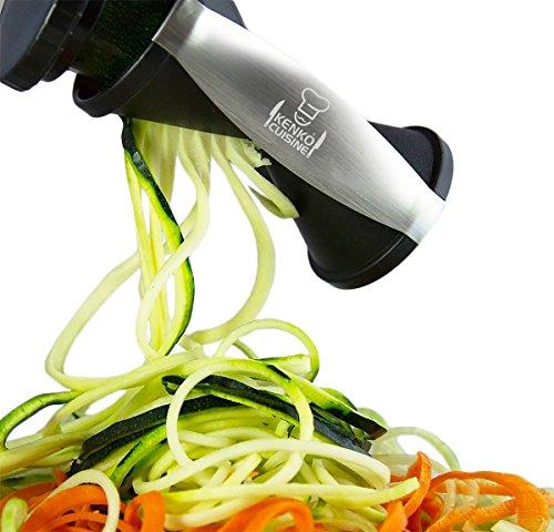 Kenko Cuisine Vegetable Spiralizer 4-in-1 Veggie Noodle Maker Ceramic Julienne Vegetable Peeler Large Size Veggie Slicer Black