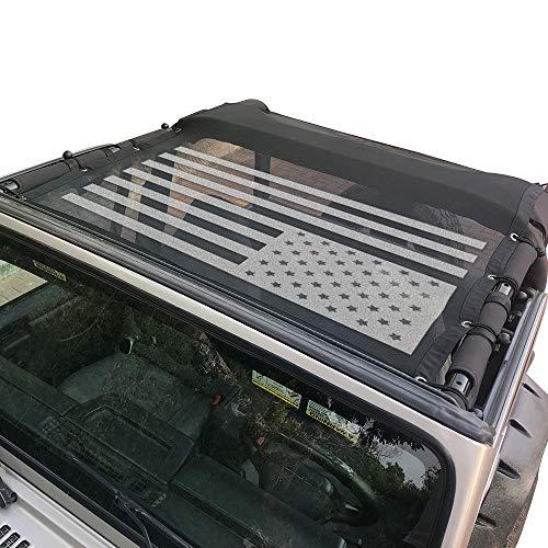 Sukemichi Durable Mesh Sunshade Bikini Top Cover USA Flag for Jeep Wrangler TJ 1996-2007