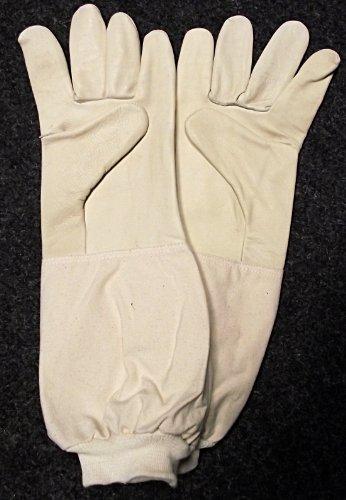 Imkerhandschuhe - echtes, kräftiges und weich gearbeitetes Leder mit extra langer Stulpe - Größe 7