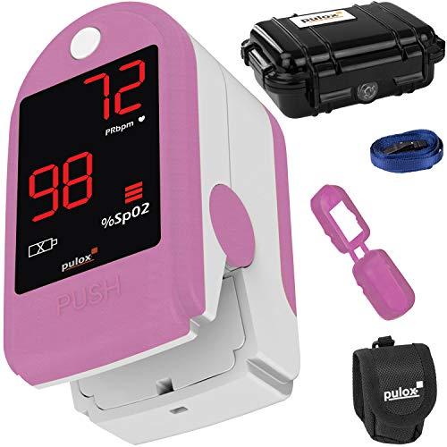 Pulox PO-100 Pulsoximeter mit LED-Anzeige, inkl. Hardcase, Batterien, Schutzhülle, Nylontasche und Trageband Rosa