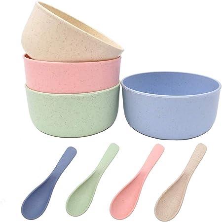 LOVEXIU Cuenco de Fideos de Trigo 4Pcs,Cuenco Duradero Irrompible,Paja Cereales Degradable Tazones,Tazones Desayuno Grandes Ensaladeras Sopa Palomitas Cocinabol Cereales Bowls