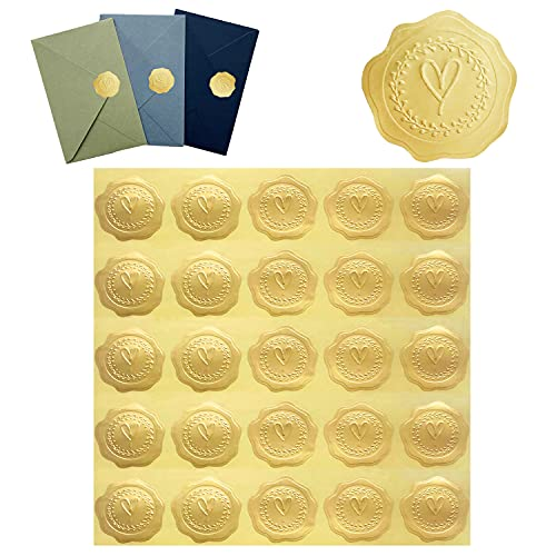 DJDZ 250pcs Gold Embossed Heart Envelope Seals Stickers for Wedding Invitations,Party Favors,Greeting Cards,Gift Packaging .etc ( Gold , Self-Adhesive)
