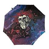 Grate-Ful Dead Bear Skull And Roses Windproof Automatic Retractable Folding Lightweight Umbrella Travel Umbrella