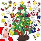 Arbol Navidad Fieltro BOIROS Árbol de Navidad Pared, Árbol de Navidad DIY con 30 Ornamentos Desmontables Extraíbles el Árbol de Navidad de Fieltro de 92cm para Regalos Colgantes de Navidad para Niños