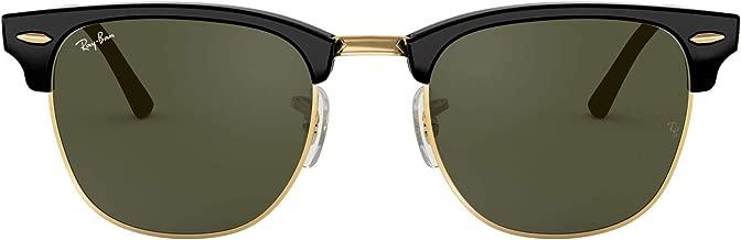 Ray-Ban RB3016 Clubmaster - anteojos de sol cuadradas (49 mm), color negro y dorado