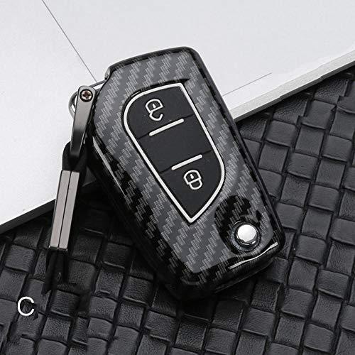 NCUIXZH Carcasa de aleación galvanizada para Llave remota de Coche, para Toyota Auris Corolla Reiz Avensis Verso Yaris Aygo Rav4 Scion TC IM-C-Negro de Carbono