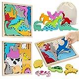 Puzzle de Madera 3 Años (3 pcs) Dinosaurios Juguetes Rompecabezas para 3 4 5 7 9 Años Juguetes Montessori Juguetes Educativos Niños 3 años Niñas Cumpleaños Animales Apilar Encajar HONGDDY