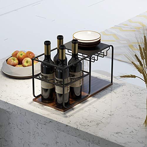 Encimera De Vino, Sostenga 4 Botellas Y 4 Gafas, Estante De Madera Y Vino De Madera, Perfecto Para Decoración De Hogar Y Cocina, Bar, Bodega, Gabinete, Estante De Vino Independiente,Negro
