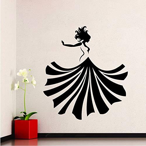 hwhz 57 X 63 cm Beauty Lady Vinyl Sticker Girl Dancing Dress Wall Decal Fashion Girl Dance Home Wall Art Mural Beauty Design Decoration