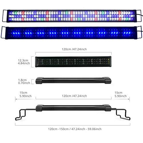 Sxspace 60-200cm Aquarium Beleuchtung 5730SMD Vollspektrum Meerwasser LED Lampe Abdeckung EU A149 (120-150cm 45W)