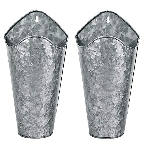 Gonioa Set of 2 Galvanized Metal Wall Planter, Farmhouse Wall Decor Style Hanging Wall Vase Planters for Succulents or Herbs Indoor or Outdoor