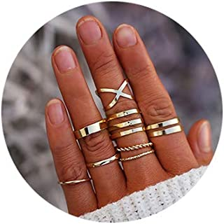 FINETOO 8 PCS Simple Knuckle Midi Ring Set Vintage Gold/Silver Multi Size Comfort Finger Stackable Rings Set Jewelry for Women/Girl Gifts